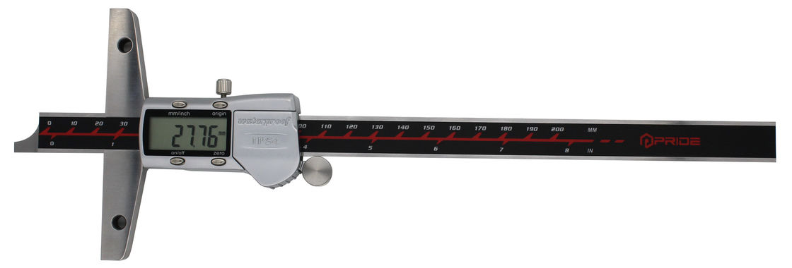 Metric / Inch Digital Depth Caliper Metal Cover IP54 Water Resistant